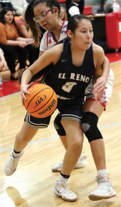 EHS girls basketball_Sioux dribbles past defender