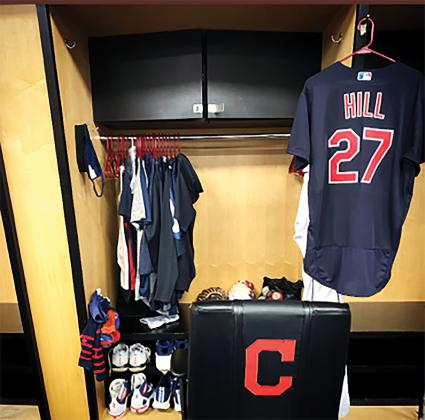 Cameron Hill's locker at Progressive Field in Cleveland