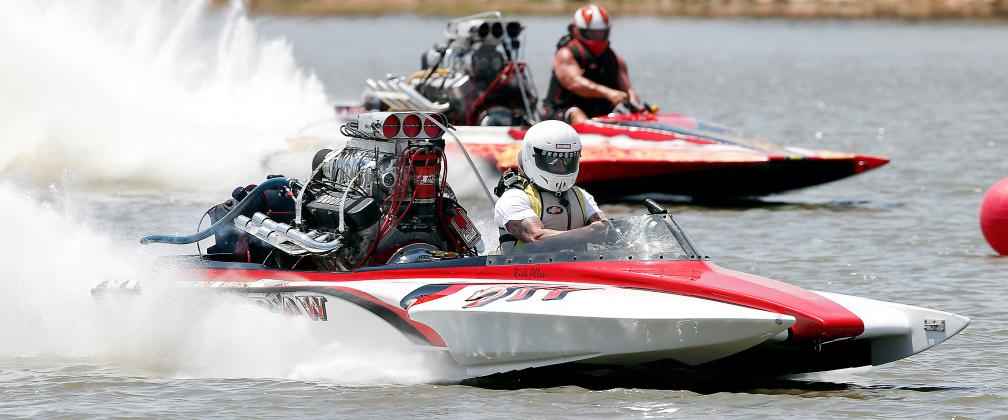 Two contestants fly down the course at Lake El Reno