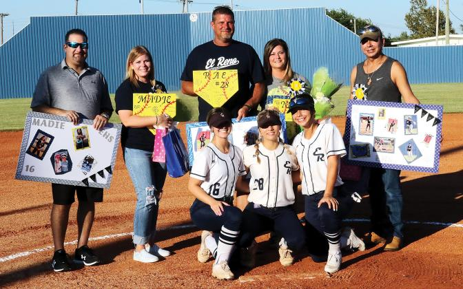 Pictured with family are Madie Yoos , Raelyn Kouba and Krystiana Guzman